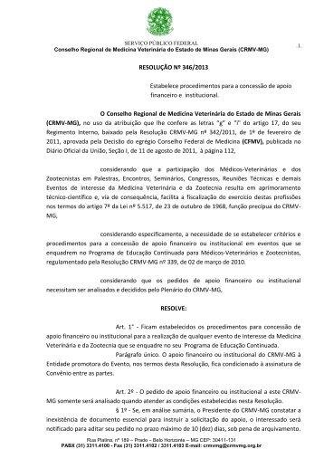 RESOLUÇÃO Nº 346/2013 Estabelece procedimentos ... - CRMV-MG