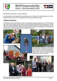 WirPrinzersdorfer Aktuell - Sommerausgabe 2008