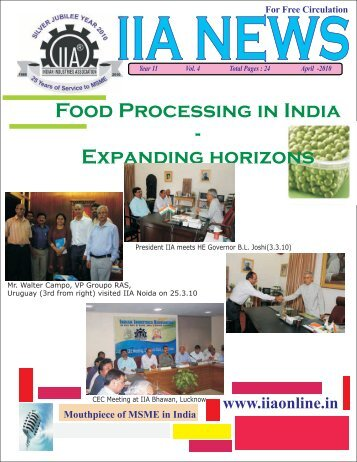 Food Processing in India - Indian Industries Association