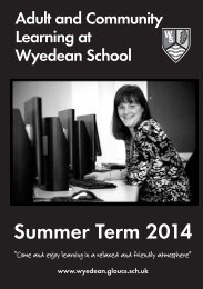 Courses - Wyedean School and Sixth Form Centre