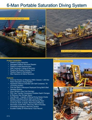 6-Man Portable Saturation Diving System - Oceaneering