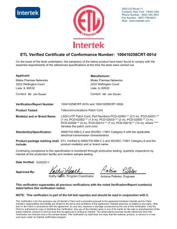 Verified Certificate Of Conformance Number - Molex Premise