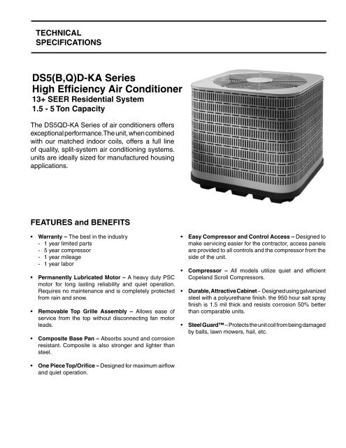 DS5(B,Q)D-KA Series High Efficiency Air Conditioner - Nordyne