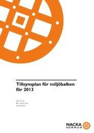 Förslag till tillsynsplan enligt Miljöbalken för 2013 - Nacka kommun