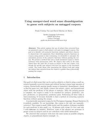 Using unsupervised word sense disambiguation to ... - INESC-ID