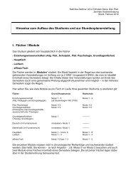 Hinweise zum Aufbau des Studiums und zur Stundenplanerstellung