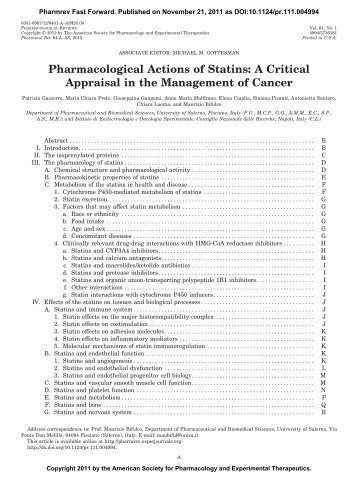 A Critical Appraisal in the Management of Cancer - Pharmacological ...