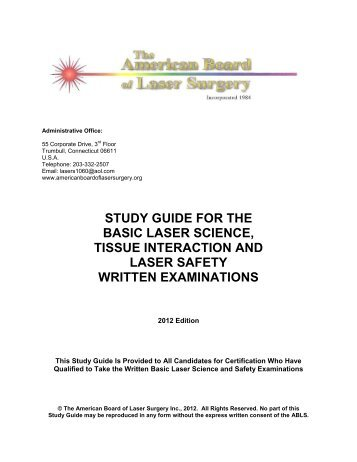 Study Guide Sample - The American Board of Laser Surgery