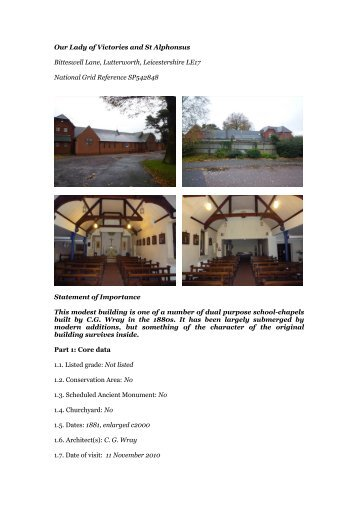 Lutterworth, Our Lady of Victories - Diocese of Nottingham