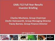 EABL F12 Full Year Results Investor Briefing Charles ... - Rich.co.ke