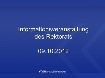 Prof. Dr. Ulrich Druwe: Informationen des Rektors