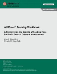 AIMSweb Training Workbook: Administration and Scoring of ...