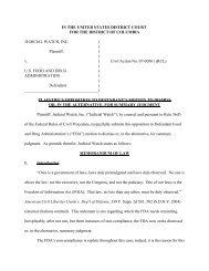 IN THE UNITED STATES DISTRICT COURT FOR ... - Judicial Watch