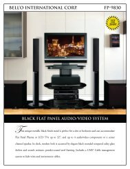 bell'o international corp. fp-9830 black flat panel audio/video system