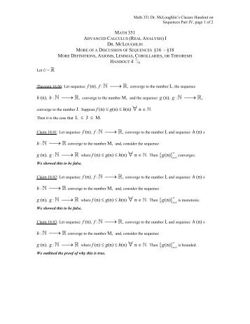 Handout: More On Sequences (Part IV of the - Faculty Home Pages