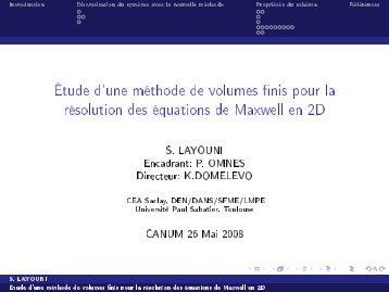 Étude d'une méthode de volumes finis pour la résolution des ... - SMAI