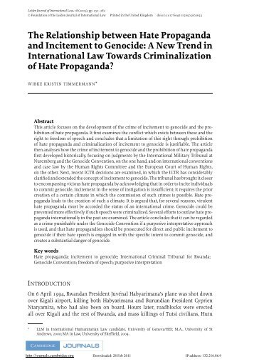 The Relationship between Hate Propaganda and Incitement to ...