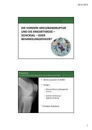Arthrose nach VKB Ruptur - FOMT