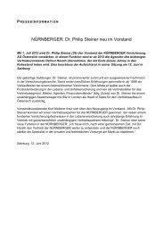 Dr. Philip Steiner neu im Vorstand - Nürnberger Versicherung AG