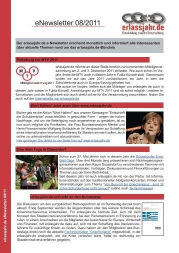 erlassjahr.de Newsletter 08/2011