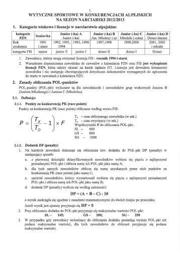 Wytyczne sportowe na sezon 2012/2013 - Polpunkty