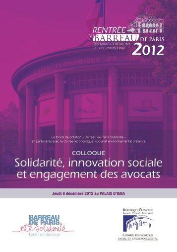Solidarité, innovation sociale et engagement des avocats - RPpublics
