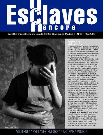"""editorial soutenez """"esclaves encore"""" : abonnez-vous"""
