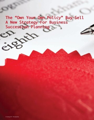 """The """"Own Your Own Policy"""" Buy-Sell A New Strategy For ... - ING"""