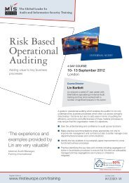 Risk Based Operational Auditing Internal Audit - MIS Training