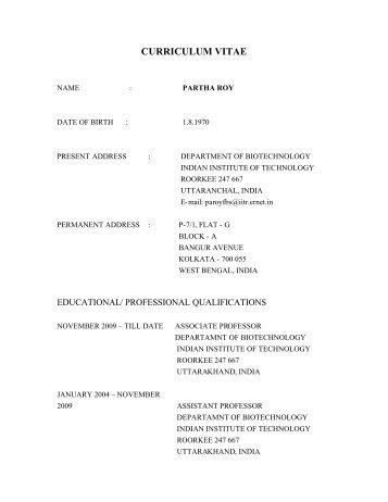 Curriculum Vitae Of Dr B K Maheshwari Indian Institute Of