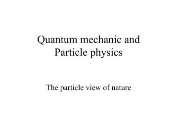Quantum mechanic and Particle physics