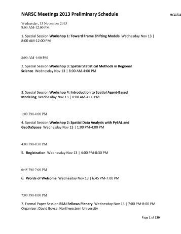 NARSC Meetings 2013 Preliminary Schedule - North American ...
