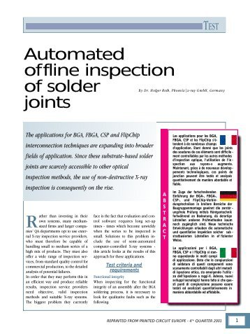 A utomated o ffline inspection of solder joints - Phoenix|x-ray