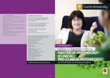 clinical psychology - Health Sciences - Curtin University