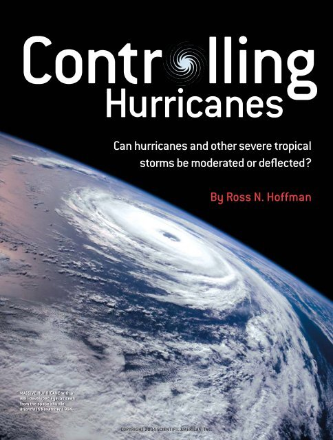 Controlling Hurricanes - Department of Atmospheric Sciences