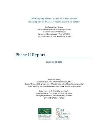 SIP Phase II Report 12-31-08 - Child & Family Studies - University of ...
