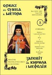 August - Mesačník Odkaz sv. Cyrila a Metoda