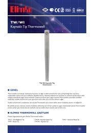 TW/WI Kaynaklı Tip Thermowell - Elimko