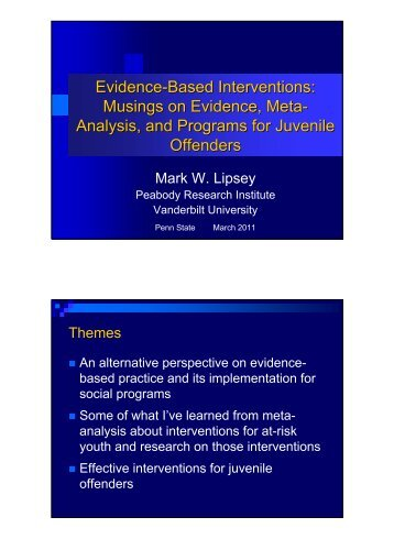 Evidence-Based Interventions - Prevention Research Center