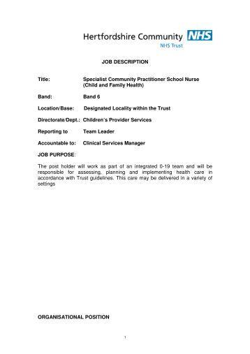 Specialist Community Practitioner School Nurse - Hertfordshire ...