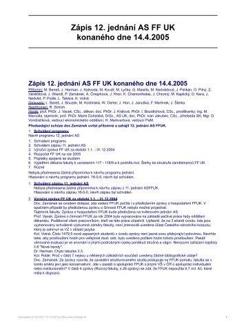 Zápis 12. jednání AS FF UK konaného dne 14.4.2005