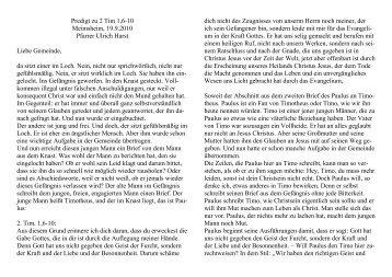Predigt zu 2 Tim 1,6-10 Meimsheim, 19.9.2010 Pfarrer Ulrich Harst ...