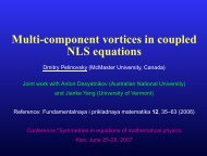 Multi-component vortices in coupled NLS equations - Dmitry ...