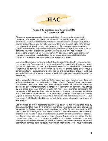 Rapport du président pour l'exercice 2012 Le 5 novembre 2012