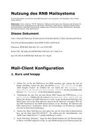 Nutzung des RNB Mailsystems Mail-Client Konfiguration