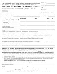 Application and Permit for Use of School Facilities - Long Beach ...