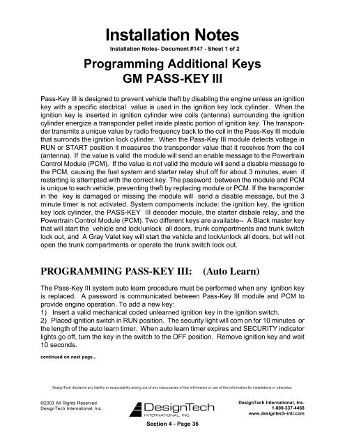 PROGRAMMING PASS-KEY III - Ready Remote