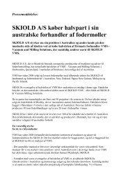 Udkast til pressemeddelelse til brug i Australien: - skiold a/s