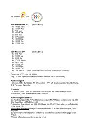 NLP-Practitioner 2011 (9x Sa.&So.) 1) 19./20. März 2) 16./17. April 3 ...