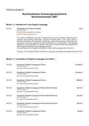 Kommentiertes Vorlesungsverzeichnis Sommersemester 2007